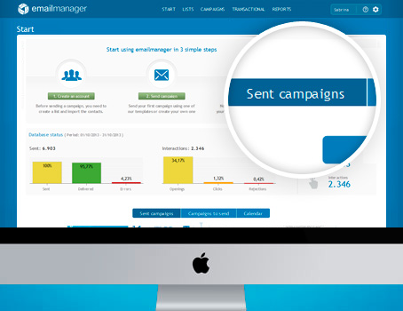 Tela de In�cio do Emailmanager | Ferramenta de email marketing